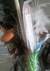 Chaos - because who wouldn't want a bouquet of dowel rods, PVC pipe, feathers and old razorblades?