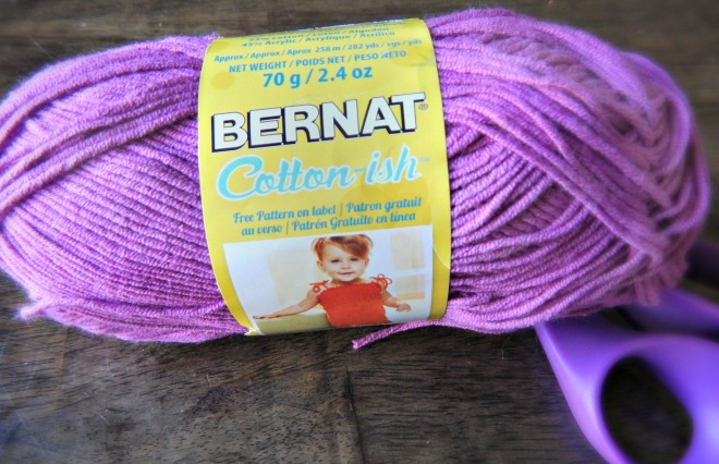 Like Vickie Howell Cotton-ish for Bernat. Color shown is