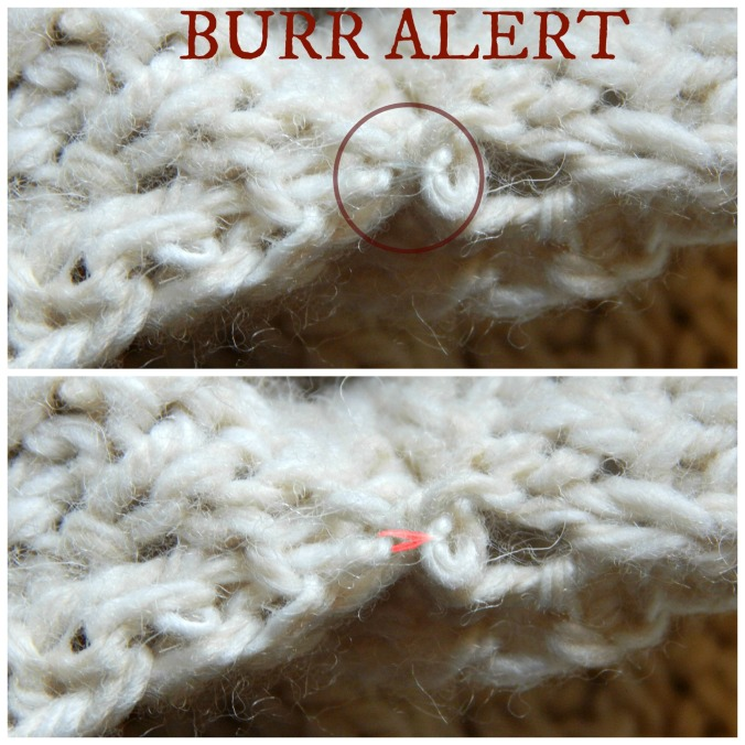 Top: Behold the burr - it's wrapped around the yarn I'm pulling and the next loop on the seam-stitch chain.  Bottom: The same burr, highlighted in red.