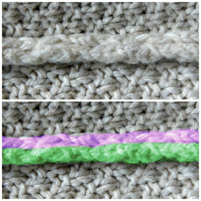 Top: Correct seam Bottom: Correct seam, highlighted
