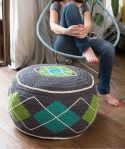 Crochet Argyle Pouf