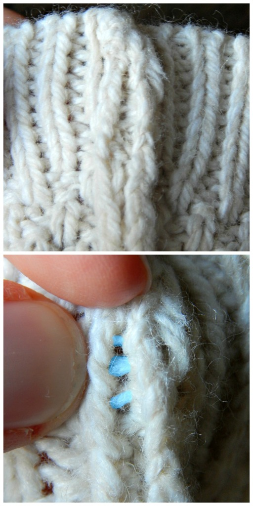 Top: Pulling apart the knit edges Bottom: The seam strands between the edges, highlighted. This is what you want to cut.