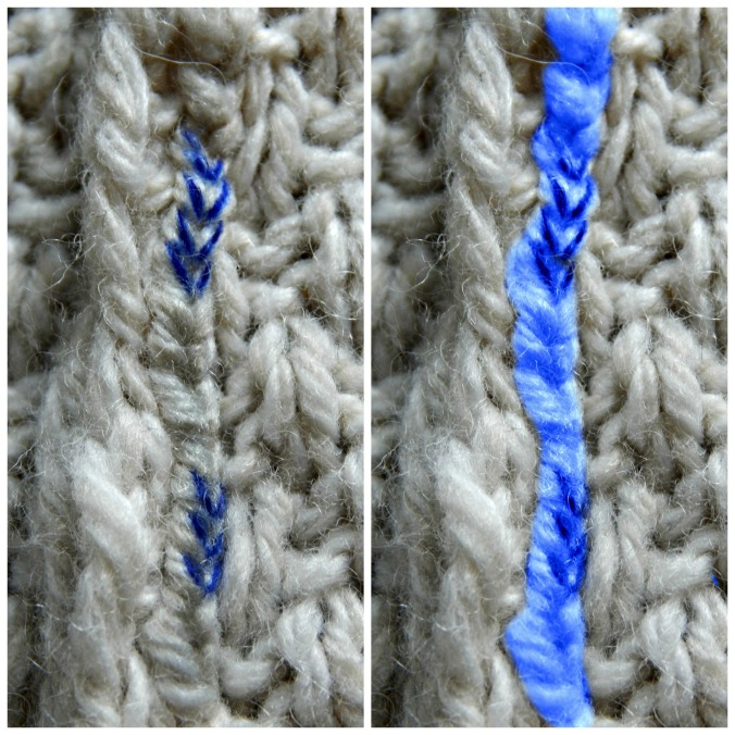Left: I marked the loops of the seam-stitch chain with a Sharpie. Right: The entire seam-stitch along one side of the knit edges is highlighted in blue.