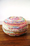 Crochet Fabric Scrap Pouf