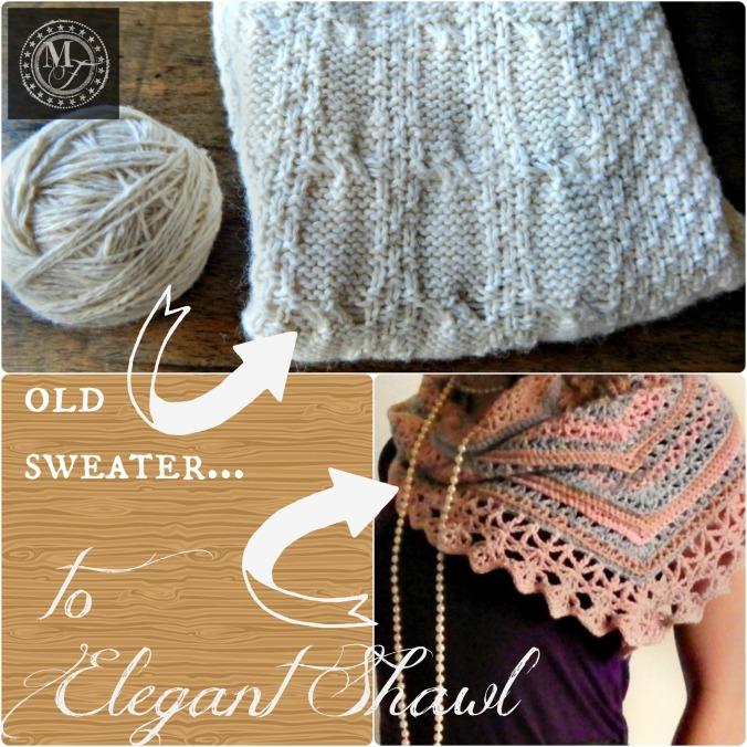 Recycled Sweater Yarn shawl 1